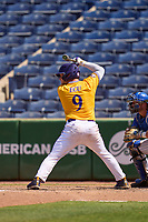 East Carolina Pirates Seth Caddell (9) bats during a game against the Memphis Tigers on May 25, 2021 at BayCare Ballpark in Clearwater, Florida.  (Mike Janes/Four Seam Images)