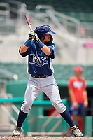 GCL Rays second baseman Cristhian Pedroza (19) at bat during a game against the GCL Red Sox on August 1, 2018 at JetBlue Park in Fort Myers, Florida.  GCL Red Sox defeated GCL Rays 5-1 in a rain shortened game.  (Mike Janes/Four Seam Images)
