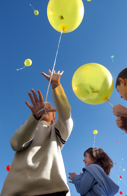 Students release helium-filled balloons to celebrate the grand opening of Ecole Ducharme, a new pre-kindergarten to Grade 12 Francophone school in Moose Jaw. The Canada-Saskatchewan Auxiliary Agreement to construct and renovate the school was signed in March of 2005. The province invested $3.6 million under this agreement and the Government of Canada invested approximately $1.2 million. MARK TAYLOR/Moose Jaw Times-Herald