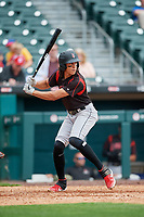 Indianapolis Indians Cole Tucker (27) at bat during an International League game against the Buffalo Bisons on June 20, 2019 at Sahlen Field in Buffalo, New York.  Buffalo defeated Indianapolis 11-8  (Mike Janes/Four Seam Images)