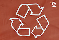 Recycling symbol on bin, close-up (Licence this image exclusively with Getty: http://www.gettyimages.com/detail/85985768 )
