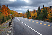 Rainy weather from Route 26 in Dixville Notch of New Hampshire USA during the autumn months.