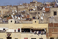 Fez, Morocco - These satellite dishes in the heart of old Fez (Fes El-Bali) illustrate how the city is in transition between the modern and the traditional way of life.