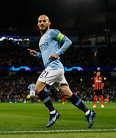 David Silva of Manchester City celebrates after scoring his side's first goal to make the score 1-0 during the UEFA Champions League Group F match between Manchester City and Shakhtar Donetsk at the Etihad Stadium on November 7th 2018 in Manchester, England. (Photo by Daniel Chesterton/phcimages.com)<br /> Foto PHC/Insidefoto <br /> ITALY ONLY
