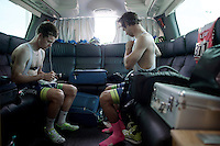 Simon Clarke (AUS/Orica-GreenEDGE) & Michael Matthews (AUS/Orica-GreenEDGE) get ready for the race in the back of the teambus. As roommates in this Giro, they also occupy places 1 & 2 in the GC with 'Bling' Matthews in the Maglia Rosa.<br /> By the end of the day Simon would be the new race leader and keep the pink jersey in the same (hotel)room.<br /> <br /> 2015 Giro<br /> st4: Chiavari - La Spezia (150km)
