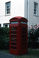London: Dulwich Gallery--Phone Booth designed by Sir Giles Gilbert Scott.  Photo '90.