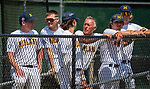 WATERBURY, CT 073121JS12 Dave Collins, a former Major League Baseball player and now on the coaching staff for the Midland (OH) Dodgers, talks with some of his players during their Mickey Mantle World Series baseball game against South Troy Saturday at Municipal Stadium in Waterbury. <br /> Jim Shannon Republican American