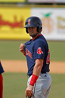Salem Red Sox third baseman Jordan Betts (25) on the bases during a game against the Down East Wood Ducks  at Grainger Stadium on April 16, 2017 in Kinston, North Carolina. Salem defeated Down East 9-2. (Robert Gurganus/Four Seam Images)