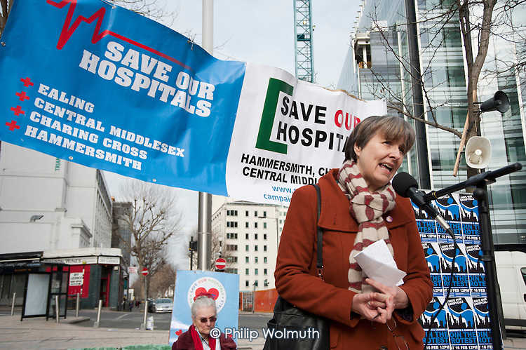 Dr. Louise Irvine, a GP and chair of Save Lewisham Hospital campaign, addresses a rally of residents and health workers called to protest at proposed closures of A&E departments at Hammersmith and Charing Cross hospitals.