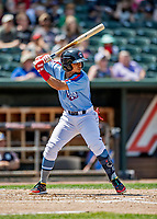 23 June 2019: New Hampshire Fisher Cats infielder Santiago Espinal at bat against the Trenton Thunder at Northeast Delta Dental Stadium in Manchester, NH. The Thunder defeated the Fisher Cats 5-2 in Eastern League play. Mandatory Credit: Ed Wolfstein Photo *** RAW (NEF) Image File Available ***