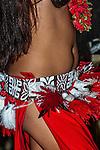 Polynesian dancing girl in Tahiti, French Polynesia