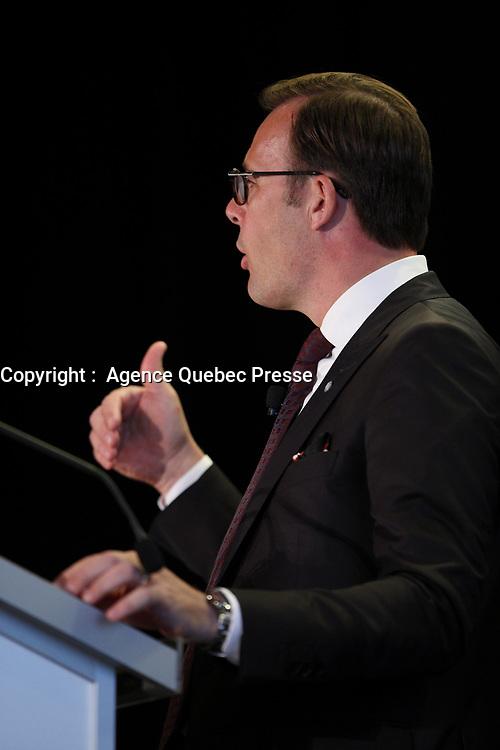Allocution de Guy Cormier, President et chef de la direction du Mouvement Desjardins devant  Le Cercle canadien de Montreal , le 29 mai 2017.<br /> <br /> Photo :  Agence Quebec Presse