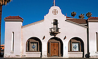 Mission RR Stations: Santa Fe Station--Tulare St. Facade. Fresno, 1910. Photo 2000.