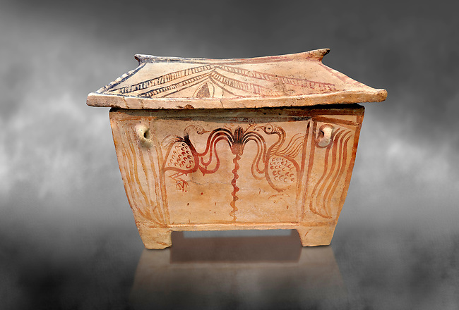 Minoan  pottery gabled larnax coffin chest with bird and floral decorations,   1370-1250 BC, Heraklion Archaeological  Museum, grey background.