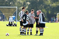 The referee speaks to Royal Oak players during a Hackney & Leyton Sunday League match at Hackney Marshes - 14/09/08 - MANDATORY CREDIT: Gavin Ellis/TGSPHOTO - Self billing applies where appropriate - Tel: 0845 094 6026