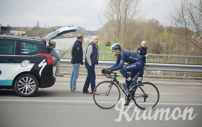 Alex Dowsett (GBR/Movistar) going for a solo breakaway while passing OPQS-manager Patrick Lefevre along the way <br /> <br /> Dwars Door Vlaanderen 2014