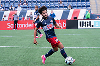FOXBOROUGH, MA - JULY 4: Ryan Spaulding #34 of the New England Revolution II during a game between Greenville Triumph SC and New England Revolution II at Gillette Stadium on July 4, 2021 in Foxborough, Massachusetts.