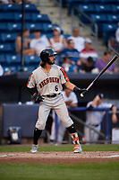 Aberdeen Ironbirds Andrew Fregia (6) at bat during a NY-Penn League game against the Staten Island Yankees on August 22, 2019 at Richmond County Bank Ballpark in Staten Island, New York.  Aberdeen defeated Staten Island 4-1 in a rain shortened game.  (Mike Janes/Four Seam Images)