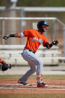 Miami Marlins Ricardo Cespedes (50) during a Minor League Spring Training Intrasquad game on March 27, 2018 at the Roger Dean Stadium Complex in Jupiter, Florida.  (Mike Janes/Four Seam Images)