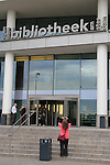 Beth at the library or bibliotheek in Amsterdam, Netherlands