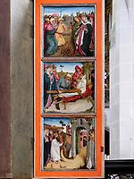 Rückseite der Seitenflügel, Altar des heiligen Kreuzes, gotische Kirche St. Ägidius-bazilika sv.Egidia, Bardejov, Presovsky kraj, Slowakei, Europa, UNESCO-Weltkulturerbe<br /> Back of the side wing of Altar of the holy cross in gothic church St. Ägidius-bazilika sv.Egidia, Bardejov, Presovsky kraj, Slovakia, Europe, UNESCO-world heritage