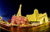 Paris Hotel, Las Vegas Nevada at night with neon lights, USA