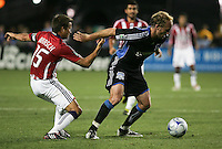 Jesse Marsch (15) and Simon Elliot battles for the ball. Chivas USA defeated San Jose Earthquakes 1-0 at Buck Shaw Stadium in Santa Clara, California on May 2, 2009.
