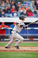 Scranton/Wilkes-Barre RailRiders designated hitter Bruce Caldwell (21) follows through on a swing during a game against the Syracuse Chiefs on June 14, 2018 at NBT Bank Stadium in Syracuse, New York.  Scranton/Wilkes-Barre defeated Syracuse 9-5.  (Mike Janes/Four Seam Images)