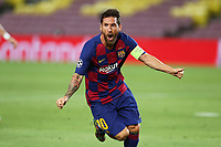 Lionel Messi of FC Barcelona celebrates after scoring the goal of 3-0 during the Champions League round of 16 second leg football match between Barcelona and SSC Napoli at Camp Nou in Barcelona (Spain), August 8th, 2020. <br /> Photo UEFA / Press Office / Insidefoto