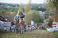 Koppenbergcross 2013<br /> <br /> Delia Beddis (GBR) on the famous Koppenberg cobbles