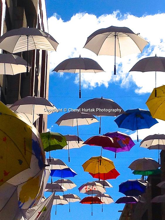 Floating umbrellas at Andino Centro, Bogota, Colombia