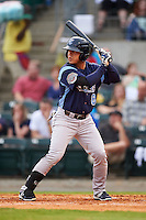 Corpus Christi Hooks outfielder Leo Heras (8) at bat during a game against the Arkansas Travelers on May 29, 2015 at Dickey-Stephens Park in Little Rock, Arkansas.  Corpus Christi defeated Arkansas 4-0 in a rain shortened game.  (Mike Janes/Four Seam Images)