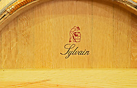 Barriques made by Tonnellerie Sylvain cooperage in the wine cellar - Chateau Grand Mayne, Saint Emilion, Bordeaux