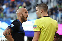 SAN JOSE, CA - SEPTEMBER 29: Magnus Eriksson #7 of the San Jose Earthquakes argues with the assistant referee during a Major League Soccer (MLS) match between the San Jose Earthquakes and the Seattle Sounders on September 29, 2019 at Avaya Stadium in San Jose, California.