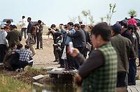 Tourists at the Zhalong Wetlands, Heilongjiang Province. China. 2011