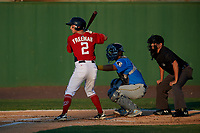 Potomac Nationals Cole Freeman (2) at bat in front of catcher Miguel Amaya and umpire Josh Gilreath during a Carolina League game against the Myrtle Beach Pelicans on August 14, 2019 at Northwest Federal Field at Pfitzner Stadium in Woodbridge, Virginia.  Potomac defeated Myrtle Beach 7-0.  (Mike Janes/Four Seam Images)