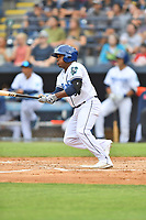 Asheville Tourists Luis Santana (3) swings at a pitch during a game against the Bowling Green Hot Rods on May 28, 2021 at McCormick Field in Asheville, NC. (Tony Farlow/Four Seam Images)