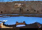 North T-Shaped Doorway, Niches and Firebox, Casa Rinconada Great Kiva, Anasazi Hisatsinom Ancestral Pueblo Site, Chaco Culture National Historical Park, Chaco Canyon, Nageezi, New Mexico