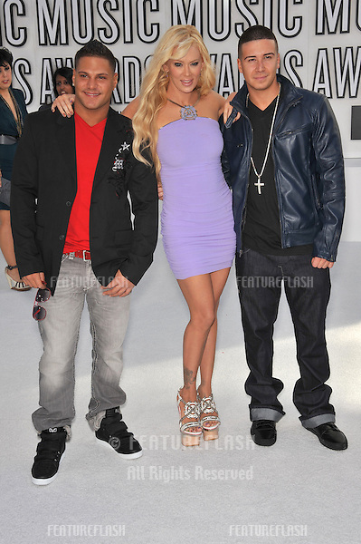 Jersey Shores stars Ronnie Ortiz-Magro (left) & Vinny Guadagnino with Jenna Jameson at the 2010 MTV Video Music Awards at the Nokia Theatre L.A. Live in downtown Los Angeles..September 12, 2010  Los Angeles, CA.Picture: Paul Smith / Featureflash