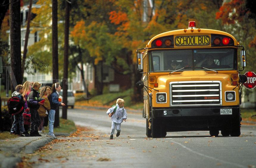 Children at school bus stop, Belfast Maine