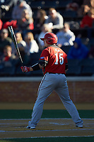 Justin Kunz (15) of the Gardner-Webb Runnin' Bulldogs at bat against the Wake Forest Demon Deacons at David F. Couch Ballpark on February 18, 2018 in  Winston-Salem, North Carolina. The Demon Deacons defeated the Runnin' Bulldogs 8-4 in game one of a double-header.  (Brian Westerholt/Four Seam Images)