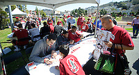SAN FRANCISCO, CA - April 14, 2012: 2012 NIT Champion Stanford Men's basketball team on hand to sign autographs for fans.