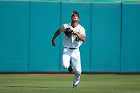 Army Black Knights left fielder Anfernee Crompton (13) chases after a fly ball during the game against the North Carolina State Wolfpack at Doak Field at Dail Park on June 3, 2018 in Raleigh, North Carolina. The Wolfpack defeated the Black Knights 11-1. (Brian Westerholt/Four Seam Images)