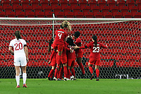13th April 2021; Bet365 Stadium, Stoke, England; Canada celebrating their goal against England during the womens International Friendly match between England and Canada