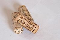 Corks. Chateau Nairac, Barsac, Sauternes, Bordeaux, France