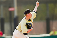 Wake Forest Demon Deacons relief pitcher John McLeod #17 delivers a pitch to the plate against the North Carolina State Wolfpack at Doak Field at Dail Park on March 17, 2012 in Raleigh, North Carolina.  The Wolfpack defeated the Demon Deacons 6-2.  (Brian Westerholt/Four Seam Images)