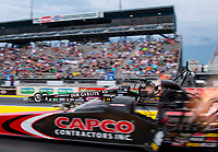 Sep 27, 2020; Gainesville, Florida, USA; NHRA top fuel driver Steve Torrence in his Don Garlits themed dragster (far) races alongside father Billy Torrence in the final round of the Gatornationals at Gainesville Raceway. Mandatory Credit: Mark J. Rebilas-USA TODAY Sports