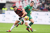 Hakan Calhanoglu of AC Milan and Jordan Veretout of Fiorentina compete for the ball during the Serie A 2018/2019 football match between AC Milan and ACF Fiorentina at stadio Giuseppe Meazza in San Siro, Milano, December 22, 2018 <br />  Foto Matteo Gribaudi / Insidefoto