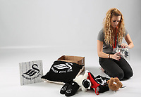 Pictured: Hollie Evans<br /> Swansea City FC and Ospreys RFC Christmas photo shoot at the Fairwood Trainining Ground, near Swansea, Wales, UK. 17 October 2017