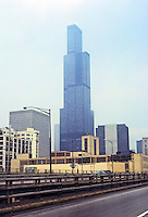 Chicago: Sears Tower, S-O-M, from Eisenhower Expressway. Photo '78.